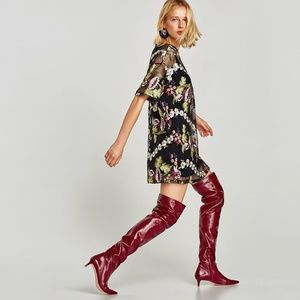 ZARA100% LEATHER OVER THE KNEES BOOTS: NWT